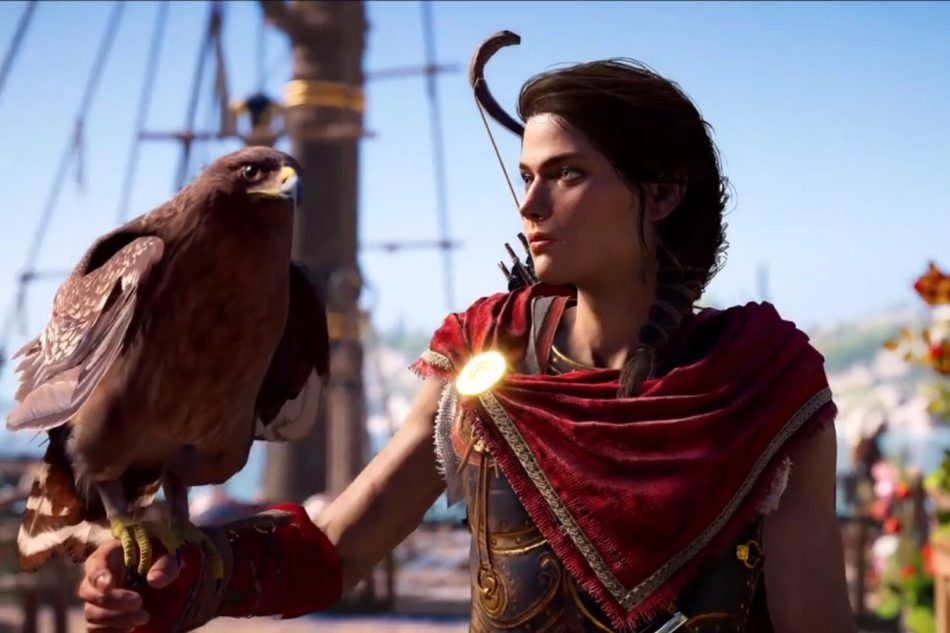 Kassandra from Assassin's Creed, with Ikaros, her eagle